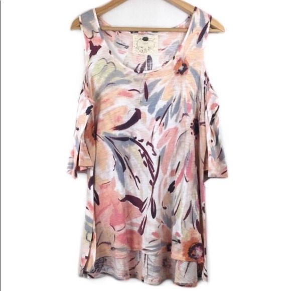 6fd029c2e3a Cupio Tops - Cupio Top Cutout Shoulders Floral Print Blouse